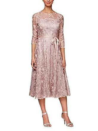 04feed15ecb Alex Evenings Womens Tea Length Embroidered Dress with Illusion Sleeves,  Rose, 18