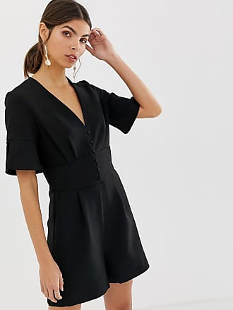 Y.A.S v neck romper - Black