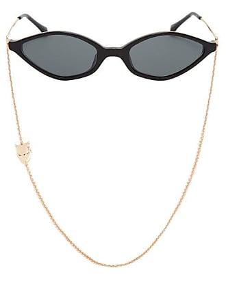 d1c2103795e7 Linda Farrow 3 C1 Slim Cat Eye Sunglasses - Womens - Black