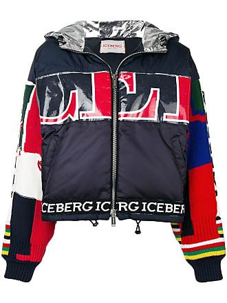 Iceberg patchwork detail puffer jacket - Blue
