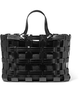 Trademark Frances Caged Leather And Canvas Tote - Black