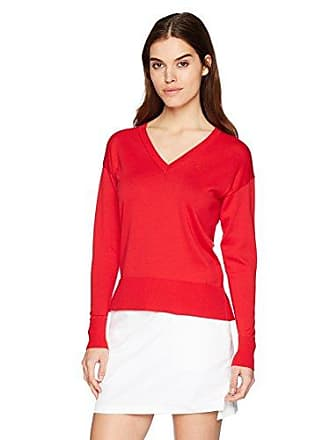 a0bb2c06 Lacoste Womens Classic Jersey V-Neck Sweater, AF5042, Toreador 10