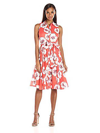 Ivanka Trump Womens Sleeveless Printed Pleated Dress, Coral/Ivory, 14