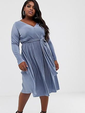 66c248db14c8 Asos Curve ASOS DESIGN Curve - Vestito midi plissettato con cintura  allacciata - Blu