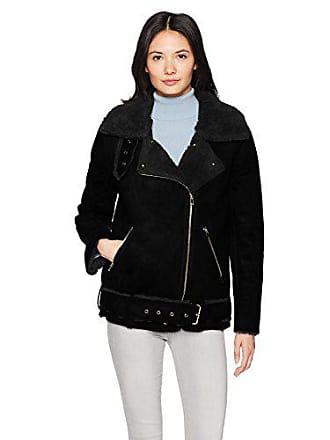 J.O.A. JOA Womens Faux Shearling Biker Jacket, Black Velour, XS