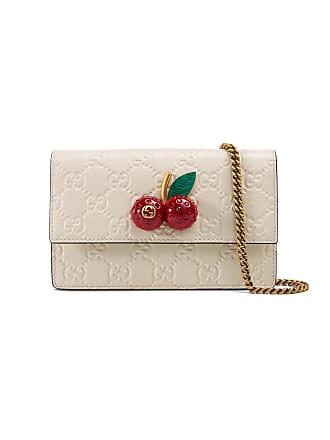 Gucci mini sac Gucci Signature à ornements cerises - Blanc 5c194f00f21