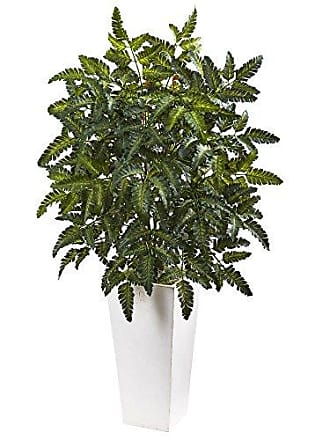 Nearly Natural 6903 Bracken Fern with White Planter