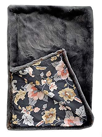 Plutus Brands Two Tone Gray/Amber W/Floral BackingThrow 48x60L Throw, 48W x 60L