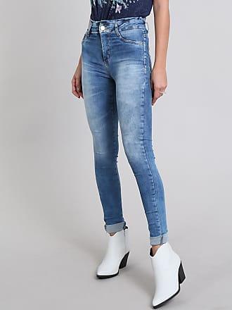 Sawary Calça Jeans Feminina Super Skinny Sawary Azul Médio