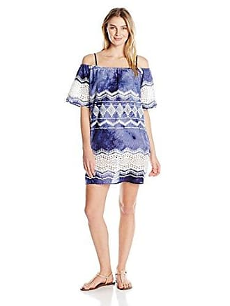 La Blanca Womens Off Shoulder Lace Short Cover Up Dress, Navy/White/Denim Print, Medium