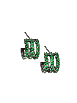Lana Jewelry Electric 14K Black Gold Huggie Earrings with Green Tsavorite