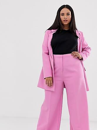 Asos Curve ASOS DESIGN Curve wide leg suit trousers-Pink