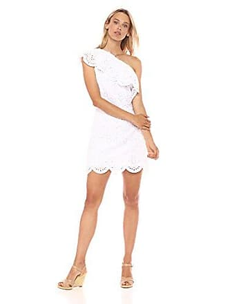 cupcakes and cashmere Womens Cosmo Eyelet One Shoulder Ruffle Dress, White, Medium