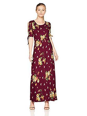 Star Vixen Womens Petite Short/Slit Sleeve Keyhole-Back Skater Seam Maxi Dress, Burgundy Ground Floral, PL