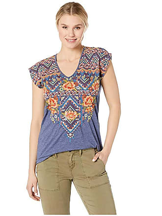 Johnny Was Sentrie Deep Scoop T-Shirt (Navy) Womens Clothing