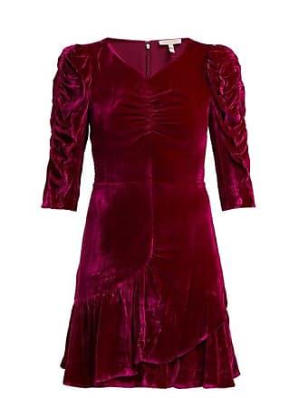 Rebecca Taylor Ruffled Velvet Mini Dress - Womens - Pink