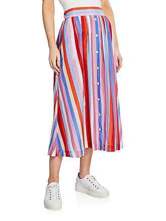 Xirena Teagan Striped A-Line Midi Skirt w/ Buttons