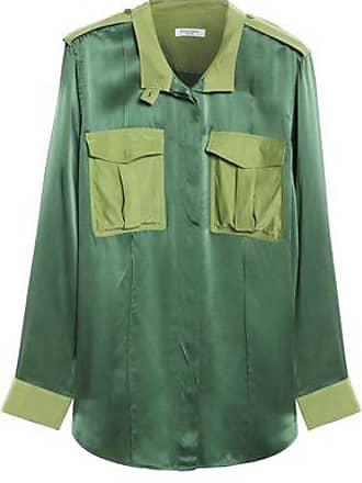 df0cddc9b347d Equipment Equipment Woman Two-tone Washed-silk Shirt Green Size S