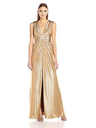 d09fd9d47c7 Halston Heritage Womens Sleeveless V Neck Jersey Gown with Wrap Tie & Front  Slit, Copper