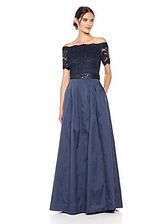 b98b15eaf39 Adrianna Papell Womens Short Sleeve Off The Shoulder Lace and Taffetta Long  Gown, Navy,. USD $229.00