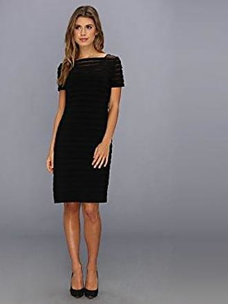 Adrianna Papell Womens Short-Sleeve Banded Sheath Dress, Black, 14