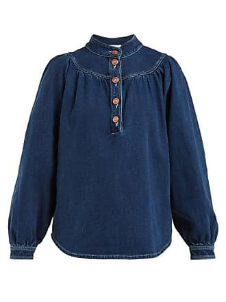 See By Chloé Stand Collar Denim Shirt - Womens - Blue