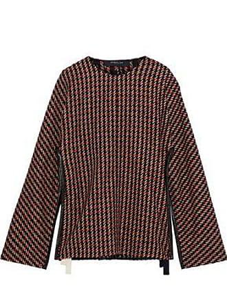 Derek Lam Derek Lam Woman Leather-trimmed Checked Wool-blend Tweed Cape Black Size XS/S