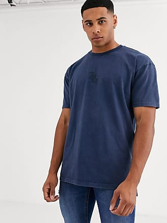 River Island t-shirt with 7th embroidery in washed blue