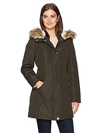 Lark & Ro Womens Mid-Length Anorak Parka with Faux-Fur Hood, olive, Medium