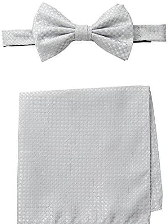 Steve Harvey Mens Neat Solid Bowtie and Neat Solid Pocket Square, Silver, One Size