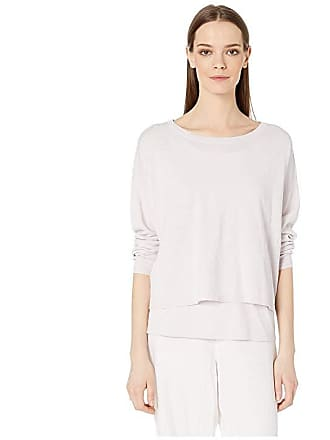 d4f0de04f8a Eileen Fisher Organic Linen Crepe Stretch Jewel Neck Box-Top (Ceramic) Womens  Clothing