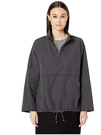 Eileen Fisher Light Organic Cotton Nylon Stand Collar Pullover Jacket (Graphite) Womens Coat