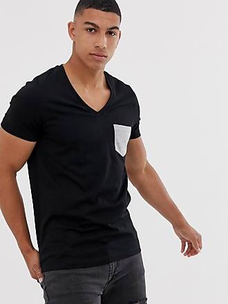 164c32032942b9 Asos T-shirt nera con profondo scollo a V e tasca a contrasto - Nero