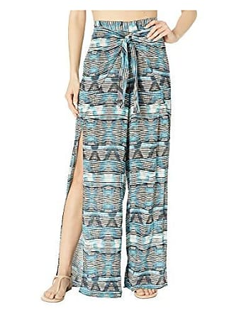 La Blanca Womens Tie Front Side Slit Pant Swim Cover-Up, Blue, L