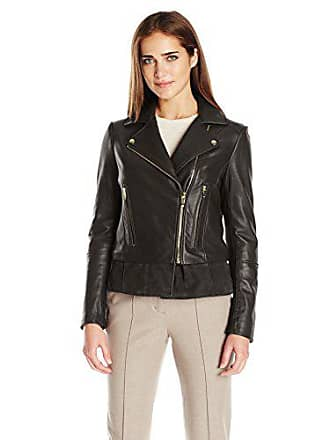 Via Spiga Womens Leather Moto Jacket, Black Large