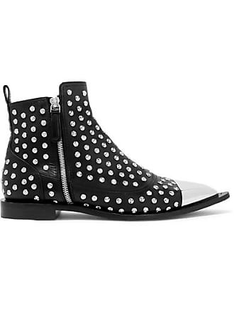 Alexander McQueen Metal-trimmed Studded Leather Ankle Boots - Black