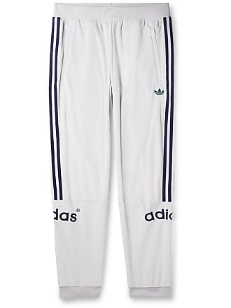 a1531a6ecf3 adidas Originals Tapered Logo-embroidered Striped Velour Sweatpants - White