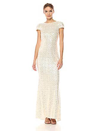 Badgley Mischka Womens Cowl Back Sequin Classic Gown Dress, Champagne, 16