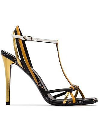 10393259224a54 Fendi Strappy Logo High Heel Sandals - Black