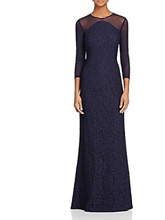 Adrianna Papell Womens Lace Modified Mermaid Gown, Navy, 4