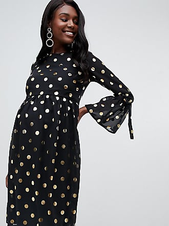 Queen Bee skater dress with fluted sleeve in gold polka dot - Multi