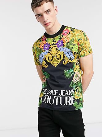 Versace Jeans Couture T-shirt nera con logo e stampa jungle-Nero