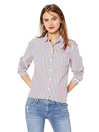 J.crew Womens Long-Sleeve Striped Shirt, red/Blue Verticle, XL