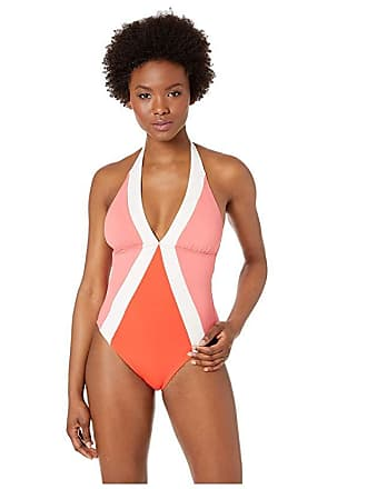 ac69cc7fed Vince Camuto Color Block Halter One-Piece with Removable Soft Cups (Koi)  Womens