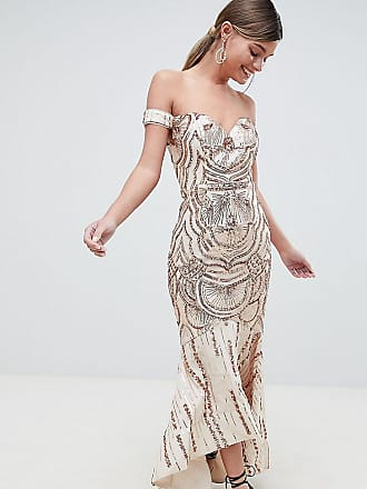 Bariano Off Shoulder Sweetheart Sequin Maxi Dress - Gold