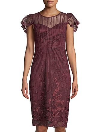 efdca484a9e Neiman Marcus Flutter-Sleeve Embroidered Mesh Cocktail Dress