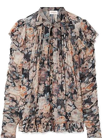 94c20435a45311 Zimmermann Tempest Frolic Ruffled Floral-print Silk-georgette Blouse - Gray