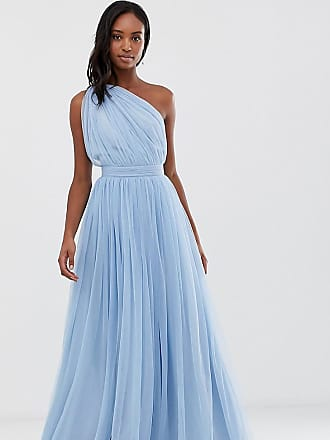 9c830f1f46ce Asos Tall ASOS DESIGN Tall One Shoulder Tulle Maxi Dress - Blue