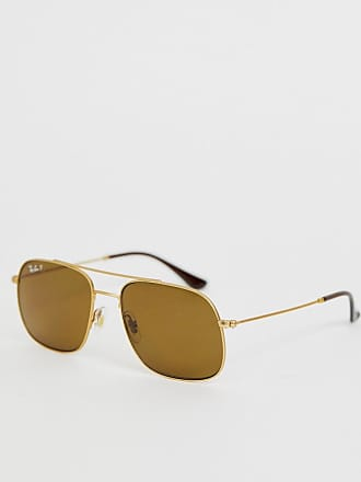 d72cae5ca1c1 Ray-Ban 0RB3595 square aviator sunglasses with polarized lens - Gold