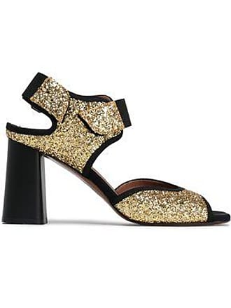 Marni Marni Woman Glittered Canvas Slingback Sandals Gold Size 36.5